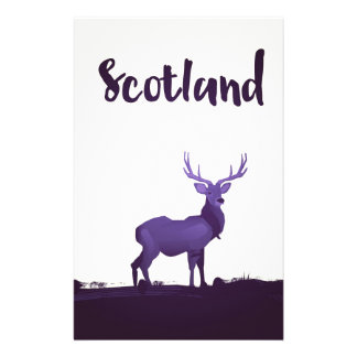 Wild Highland Scotland Stag Ink travel poster Stationery