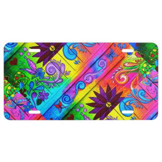 wild hippie style license plate