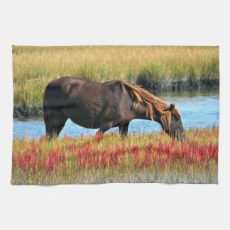 Wild Horse Eating In The Field Kitchen Towel