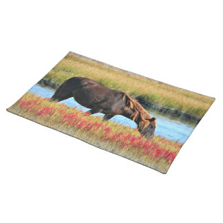 Wild Horse Eating In The Field Placemat