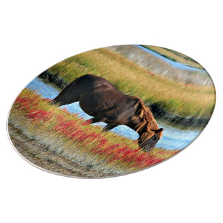 Wild Horse Eating In The Field Plate