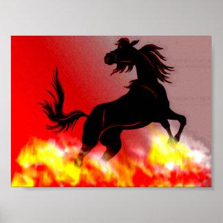 Wild horse fleeing flames poster