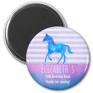 Wild Horse in Blue and Purple Watercolor Birthday Magnet
