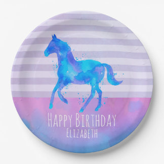 Wild Horse in Blue and Purple Watercolor Birthday Paper Plate