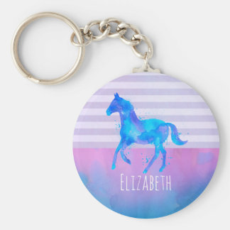 Wild Horse in Blue and Purple Watercolor Keychain