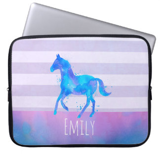 Wild Horse in Blue and Purple Watercolor Laptop Sleeve