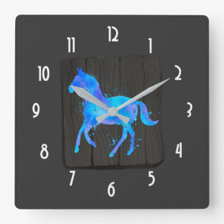 Wild Horse in Blue and Purple Watercolor on Black Square Wall Clock