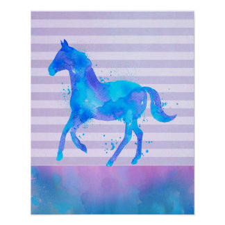 Wild Horse in Blue and Purple Watercolor Poster