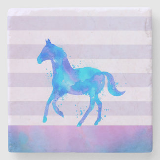 Wild Horse in Blue and Purple Watercolor Stone Coaster