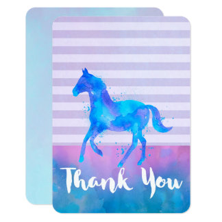 Wild Horse in Blue and Purple Watercolor Thank You Card