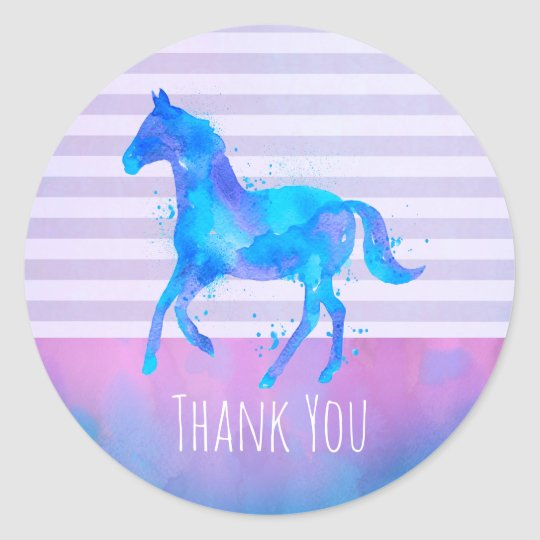 Wild Horse in Blue and Purple Watercolor Thank You Classic Round Sticker