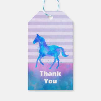 Wild Horse in Blue and Purple Watercolor Thank You Gift Tags