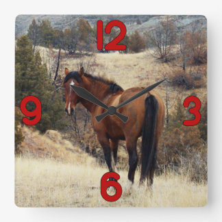 Wild Horse on Hill Square Wall Clock