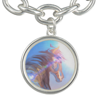 Wild Horse purple blue girls charm bracelet silver