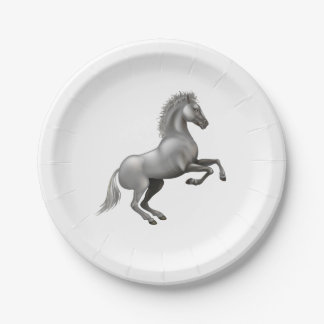 Wild horse rearing up 7 inch paper plate