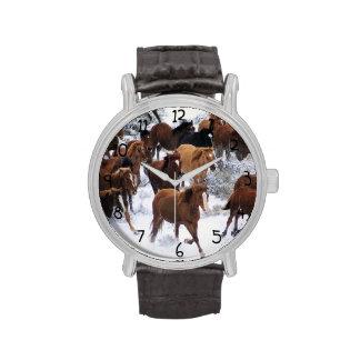 Wild Horse Running on Snow Wristwatches