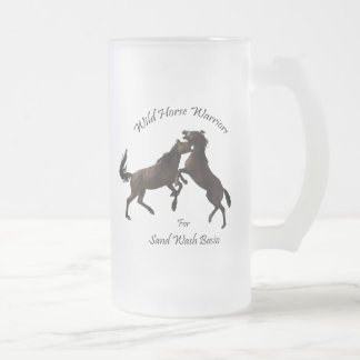 Wild Horse Warriors for Sand Wash Basin Frosted Glass Beer Mug