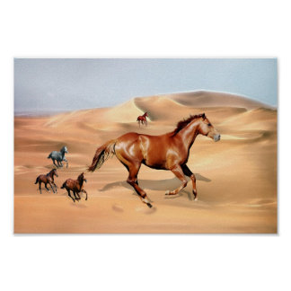 Wild horses and sand dunes poster
