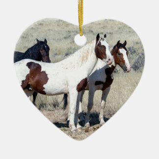 WILD HORSES CERAMIC HEART ORNAMENT