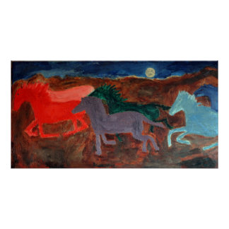 Wild Horses in Moonlight Poster