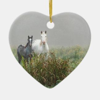 Wild Horses of Missouri Ceramic Heart Ornament