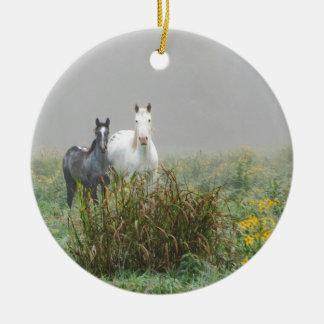 Wild Horses of Missouri Round Ceramic Ornament