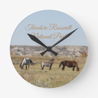 Wild Horses of Theodore Roosevelt National Park Round Clock