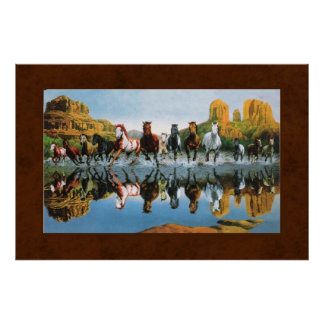 Wild Horses on Leather Poster