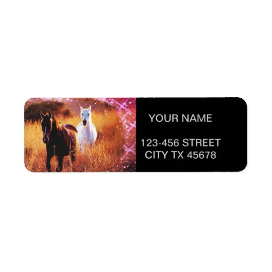 Wild horses running free in field return address label