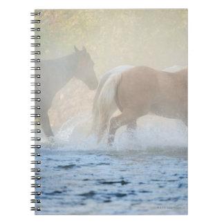 Wild horses running through water spiral note books