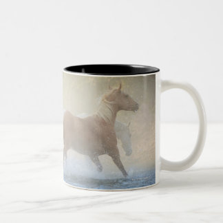Wild horses running through water Two-Tone coffee mug