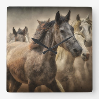 Wild Horses Square Wall Clock