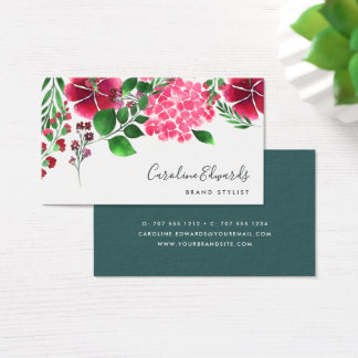 Wild Hydrangea | Watercolor Floral Business Card