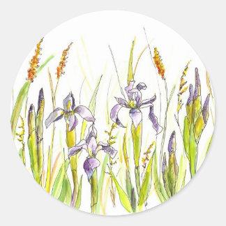 Wild Iris Purple Wildflower Watercolor Sketch Classic Round Sticker