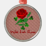 Wild Irish Rose Round Metal Christmas Ornament