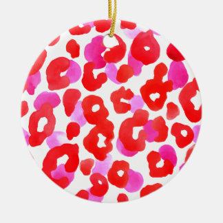 Wild jaguar ethno  Red love Ceramic Ornament