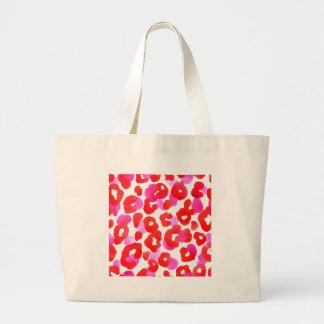Wild jaguar ethno  Red love Large Tote Bag