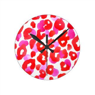 Wild jaguar ethno  Red love Round Clock