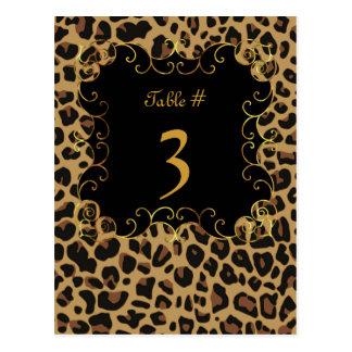 Wild Jaguar Print Wedding Table Number Card