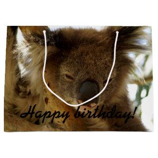 Wild koala sleeping on eucalyptus tree, Photo Large Gift Bag