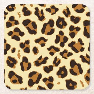Wild leopard animal skin print brown square paper coaster