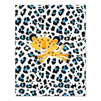 "wild leopard blue baby shower invitations! 4.25"" x 5.5"" invitation card"