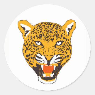 Wild leopard classic round sticker