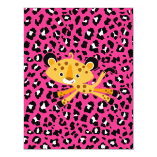 "wild leopard HOT PINK baby shower invitations! 4.25"" X 5.5"" Invitation Card"