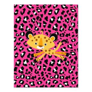 "wild leopard HOT PINK baby shower invitations! 4.25"" X 5.5"" Invitation Card"