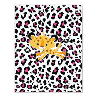"wild leopard pink baby shower invitations! 4.25"" x 5.5"" invitation card"
