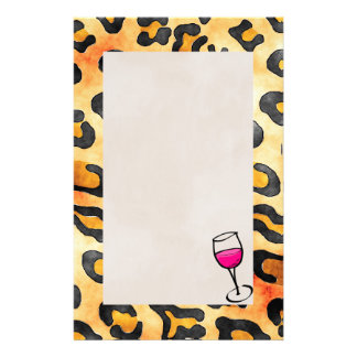 Wild Leopard Spots Pattern with Wine Glass Customized Stationery