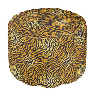 Wild Leopard Sturdy Spun Polyester Round Pouf
