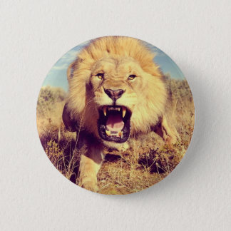 Wild Lion 2 Inch Round Button