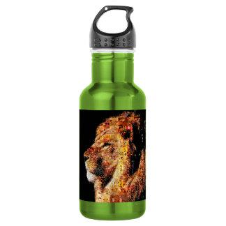 Wild lion - lion collage - lion mosaic - lion wild 532 ml water bottle
